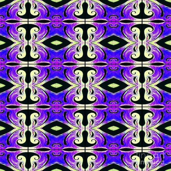 Digital Art - Metamorphosis Of The White Waves Symmetry Tile 219 by Helena Tiainen