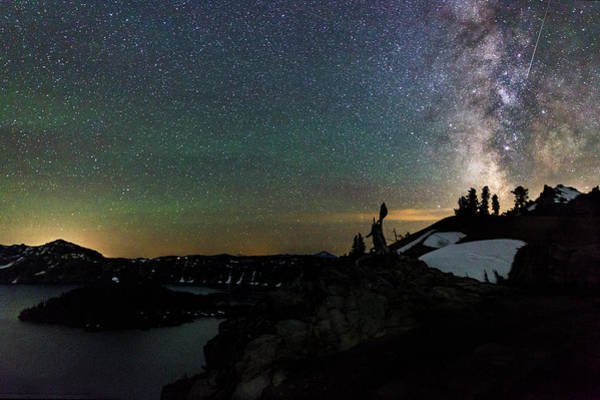 Wall Art - Photograph - Meteor And Milky Way At Crater Lake by Cat Connor