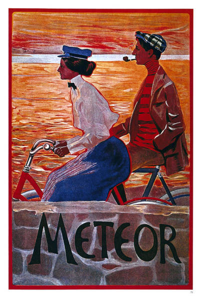 Wall Art - Mixed Media - Meteor Cycles - Bicycle - Vintage Advertising Poster by Studio Grafiikka