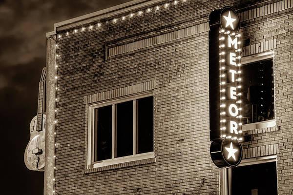 Photograph - Meteor Guitar Gallery Neon - Sepia - Downtown Bentonville Arkansas by Gregory Ballos