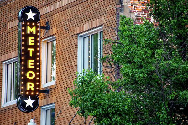 Photograph - Meteor Neon Sign - Downtown Bentonville Arkansas by Gregory Ballos