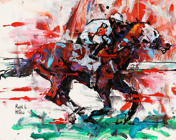 Thoroughbred Racing Wall Art - Painting - Metro Wins Again  by Ron Krajewski