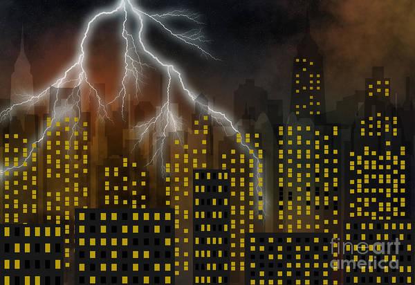Highrise Digital Art - Metropolis At A Stormy Night by Michal Boubin