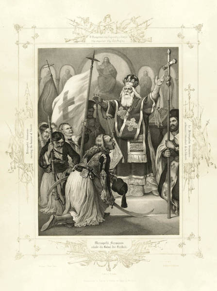 Wall Art - Drawing - Metropolit Germanos Raising The Banner Of Liberty by J B Kuhn after Peter von Hess