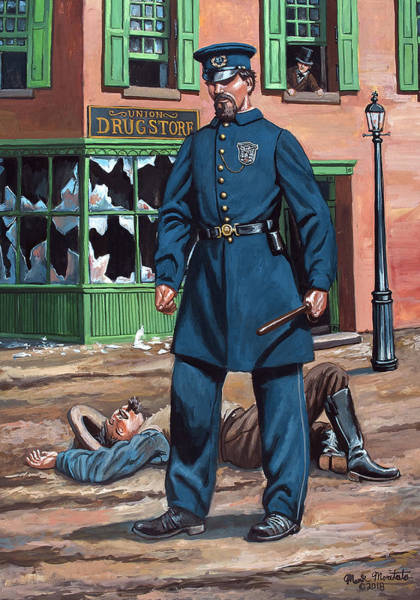 Wall Art - Painting - Metropolitan Police Officer  - New York City Draft Riots - July 1863 by Mark Maritato