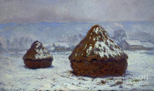 Wall Art - Painting - Meules, Effet De Neige by Claude Monet