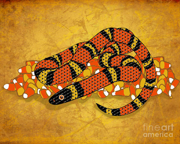 Serpent Digital Art - Mexican Candy Corn Snake by Laura Brightwood