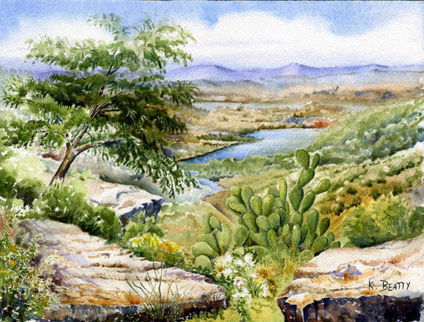 Mexican Landscape Watercolor Art Print