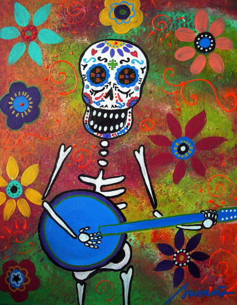 Mexican Guitar Player Painting - Mexican Playing Banjo by Pristine Cartera Turkus