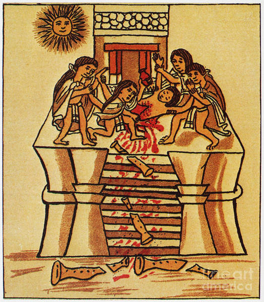 Photograph - Mexico: Aztec Sacrifice by Granger