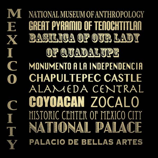 Wall Art - Digital Art - Mexico City Famous Landmarks by Patricia Lintner