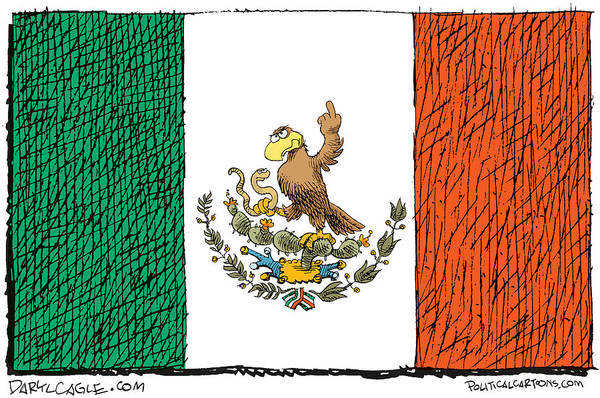 Drawing - Mexico Flips Bird by Daryl Cagle
