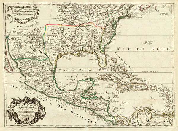Wall Art - Painting - Mexico, Florida, English Lands, Isles Antilles by Guillaume Delisle