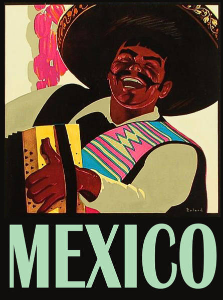 Sombrero Painting - Mexico, Happy Accordion Player, Travel Poster by Long Shot