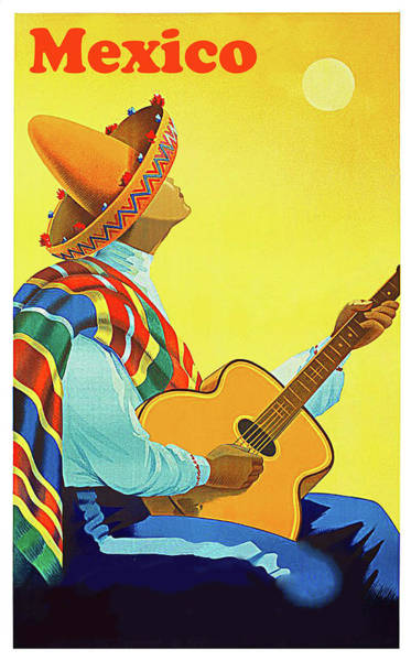 Poncho Wall Art - Painting - Mexico, Man In Sombrero Playing Classic Guitar by Long Shot