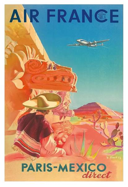 Chichen Digital Art - Mexico Mayan Ruins Paris To Mexico Vintage Airline Travel Poster by Retro Graphics