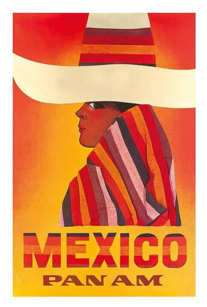 Indigenous Digital Art - Mexico Pan American Airlines Vintage Travel Poster by Retro Graphics
