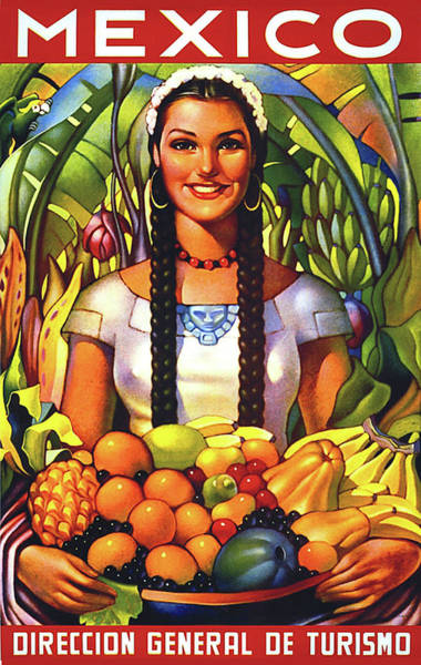 Wall Art - Painting - Mexico, Smiling Girl With Fruits by Long Shot