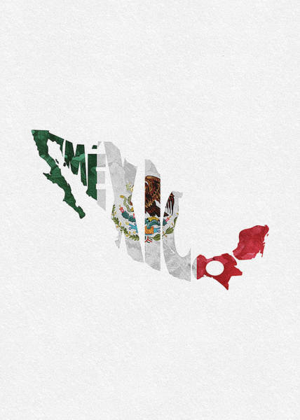 Europe Map Digital Art - Mexico Typographic Map Flag by Inspirowl Design