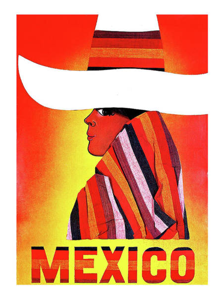 Poncho Wall Art - Painting - Mexico, Woman With Sombrero by Long Shot