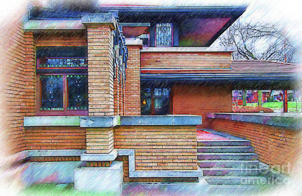 Digital Art - Meyer May House Sketched by Kirt Tisdale