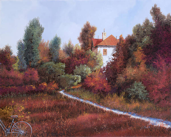 Tuscany Landscape Wall Art - Painting - Mezza Bicicletta Nel Bosco by Guido Borelli