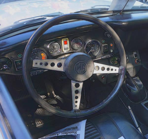 Dashboard Digital Art - Mg Midget Steering Wheel by Cathy Anderson
