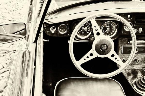 Wall Art - Photograph - Mg Steering Wheel In Sepia by Georgia Fowler