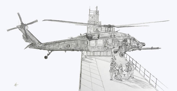 Special Forces Wall Art - Drawing - Mh-60 At Work by Nicholas Linehan