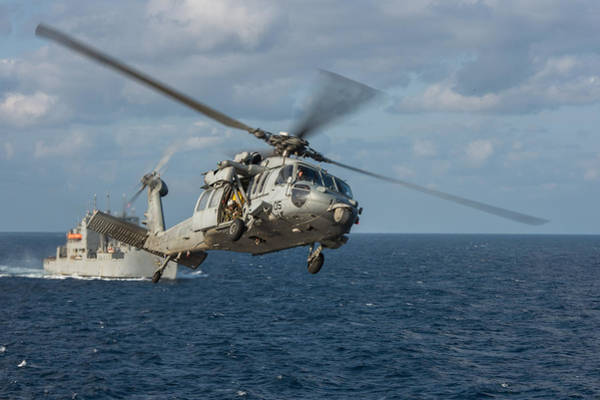 Helicopter Painting - Mh-60s Sea Hawk Helicopter by Celestial Images