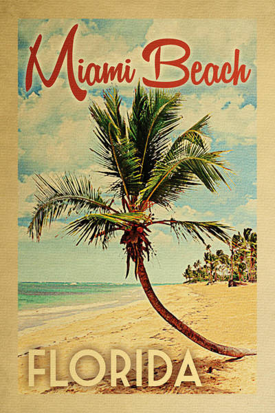 Palm Trees Digital Art - Miami Beach Florida Palm Tree by Flo Karp