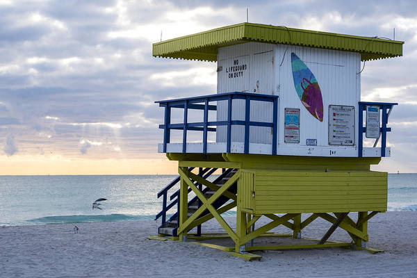 Photograph - Miami Beach Life Guard House Sunrise Surf Board by Toby McGuire