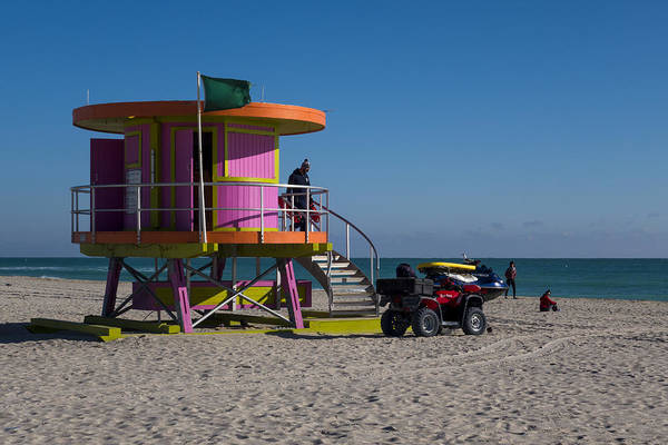 Four Wheeler Photograph - Miami Beach Round Lifeguard House Ocean Rescue by Toby McGuire