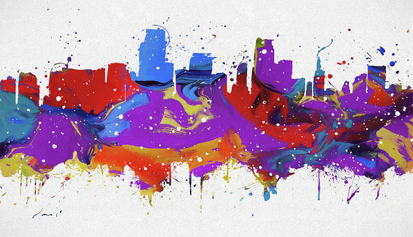 Wall Art - Painting - Miami Colorful Skyline by Dan Sproul