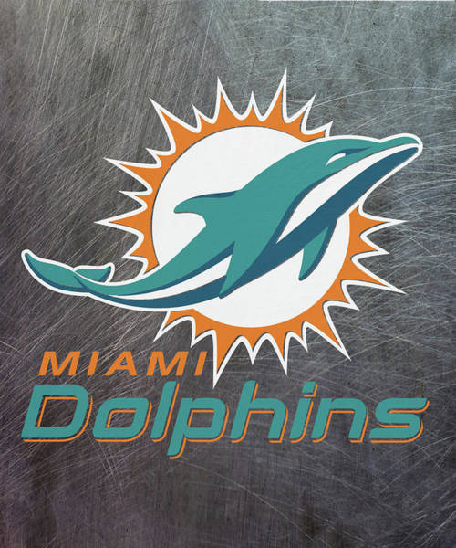Mixed Media - Miami Dolphins On An Abraded Steel Texture by Movie Poster Prints