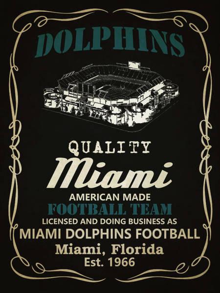 Whiskey Mixed Media - Miami Dolphins Whiskey by Joe Hamilton