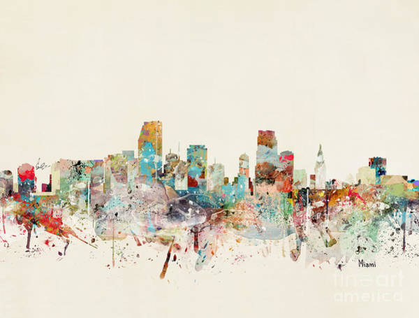 Florida Painting - Miami Florida City Skyline by Bri Buckley