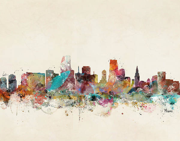 Miami Digital Art - Miami Florida Skyline by Bri Buckley