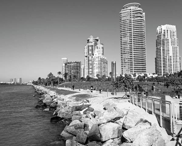 Photograph - Miami Florida Skyline Miami Beach Black And White by Toby McGuire