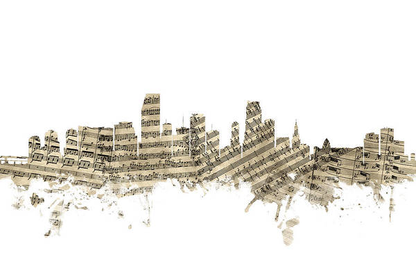 Miami Digital Art - Miami Florida Skyline Sheet Music by Michael Tompsett