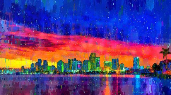 Miami-dade Digital Art - Miami Skyline 100 - Da by Leonardo Digenio