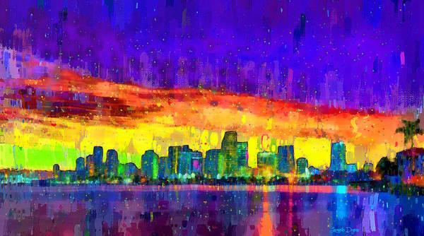 Miami-dade Digital Art - Miami Skyline 108 - Da by Leonardo Digenio