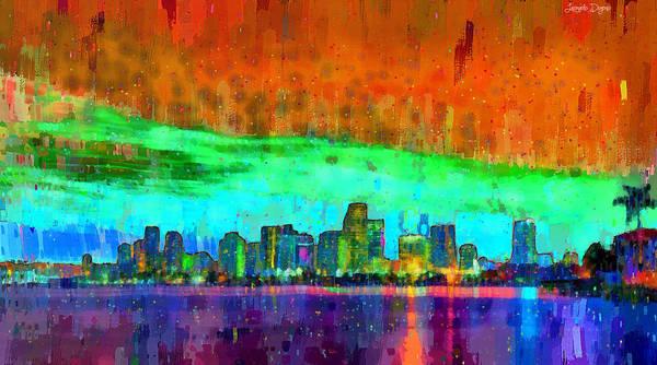 Miami-dade Digital Art - Miami Skyline 110 - Da by Leonardo Digenio