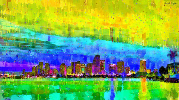 Miami-dade Digital Art - Miami Skyline 142 - Da by Leonardo Digenio
