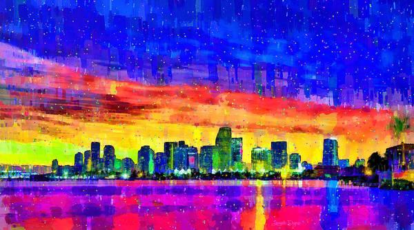Miami-dade Digital Art - Miami Skyline 146 - Da by Leonardo Digenio