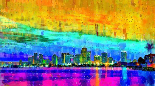 Miami-dade Digital Art - Miami Skyline 152 - Da by Leonardo Digenio