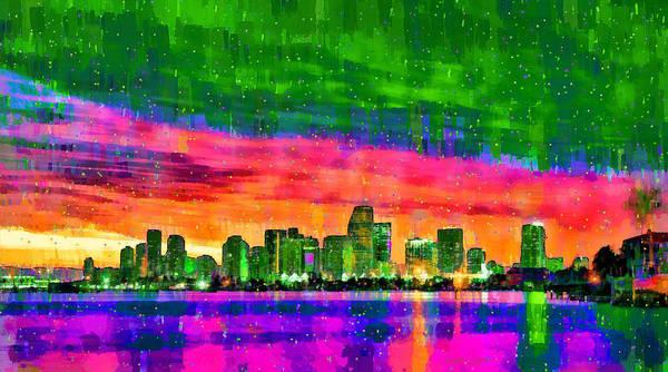 Miami-dade Digital Art - Miami Skyline 156 - Da by Leonardo Digenio