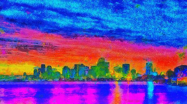 Miami-dade Digital Art - Miami Skyline 160 - Da by Leonardo Digenio