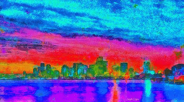 Miami-dade Digital Art - Miami Skyline 161 - Da by Leonardo Digenio
