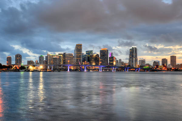 Photograph - Miami Skyline At Dusk by Mark Whitt